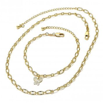 Gold Layered 04.63.0199 Necklace and Bracelet, Butterfly Design, Diamond Cutting Finish, Gold Tone