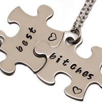 Best Bitches Puzzle Piece Necklaces | Gift For Best Friend | Hand Stamped Best Bitches Jewelry | Best Friend Jewelry | Best Friend Gift
