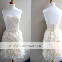 Sweetheart Beaded Bodice Fur Skirt Short Prom Dress/ Gorgeous Cocktail Dress/ Formal Dress/ Champagne Homecoming Dress