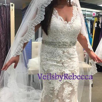Custom Made Chantilly Lace Veil- 1 tier cathedral lace veil,ivory Chantilly lace royal veil,slim lace cathedral veil, soft lace veil  V628