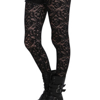 LOVEsick Black Floral Lace Fishnet Tights