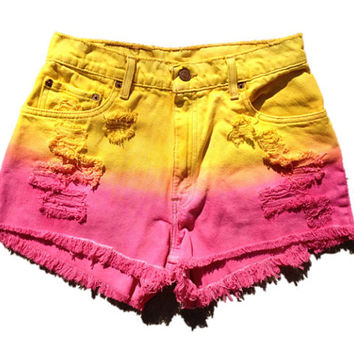 Vintage Ombre Levi's High Waisted Cut Off by SIRLOINboutique