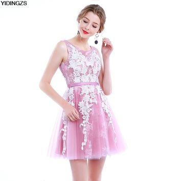 YIDINGZS Pink&Gray Short Lace Prom Dresses 2018 New Arrive Tulle Lace Up Evening Party Dress