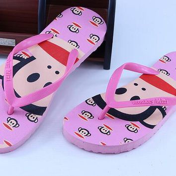 2017 New Monkey lovers flip-flops carton flat sandals women candy colored female summer beach slippers and flip flops