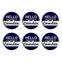 Camden Hello My Name Is Plastic Resin Button Set of 6