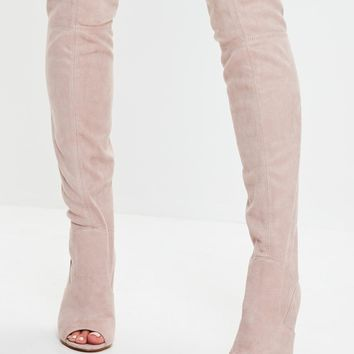 Missguided - Nude Peep Toe Knee High Boots