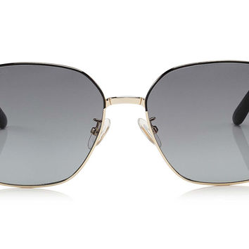 Jimmy Choo - Sia Black Geometrical with Crystal Powder Fabric Sunglasses