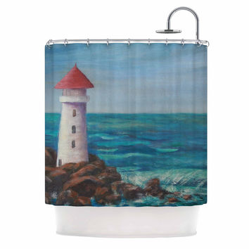 "Cyndi Steen ""The Lighthouse Rocks"" Blue Painting Shower Curtain"