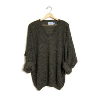90s loose knit marled sweater Dark green black Speckled boyfriend vintage Vneck pullover Boxy cozy knit Sweater Slouchy Fall jumper Men's XL
