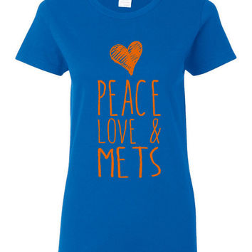 PEACE Love And Mets Ladies Style Mets Baseball Fan T Shirt Playoff Fan T Shirt Mets new York