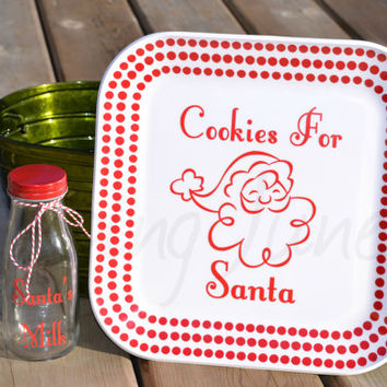 Cookies and Milk for Santa - Santa Cookie Plate and Milk Glass