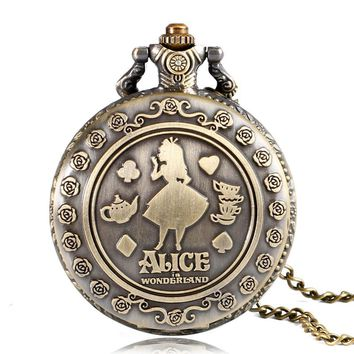 2016 Fashion Lovely Alice in Wonderland Design Round Quartz Pocket Watch With Necklace Chain For Girl Ladies Gift