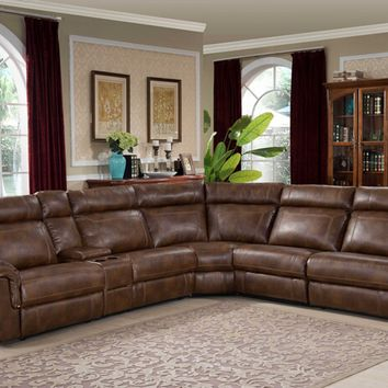 6 pc Clark collection brown leather like fabric upholstered sectional sofa with recliners