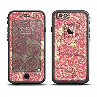 The Yellow and Pink Paisley Floral Skin Set for the Apple iPhone 6 LifeProof Fre Case