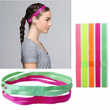 Double Sports Elastic Headband Softball Yoga Anti-slip Silicone Rubber Hair Bands Bandage On Head Hair Scrunchy Multi Colors