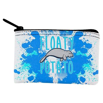 Floaty Potato Manatee Funny Grunge Splatter Coin Purse