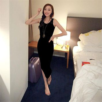 Summer Lady Vestido Boho Beach Sleeveless Bottoming Bodycon Dress Women Long Cotton Vest Dresses