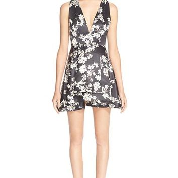 Women's Alice + Olivia 'Tanner' Floral Print Fit & Flare Dress,