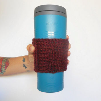 Wool Blend Cable Stitch Coffee Cozy in Oxblood, ready to ship.