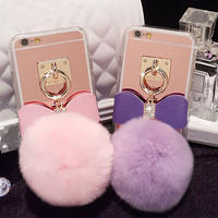 Mirror Diamond Fluffy Ball Phone Case For iPhone 5s 6 6S 6Plus