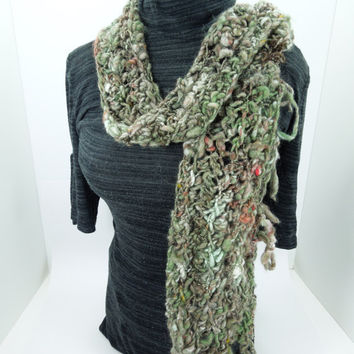 Handspun crocheted scarf in forest green.