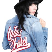 WILD CHILD Embroidered Denim Jacket