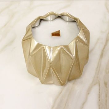 Gold Geo Ceramic Candle