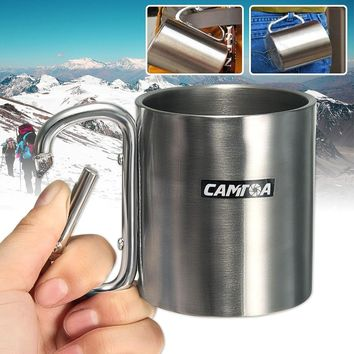 Outdoor Camping Cup 220ml Stainless Steel Coffee Mug Carabiner Hook Double Wall