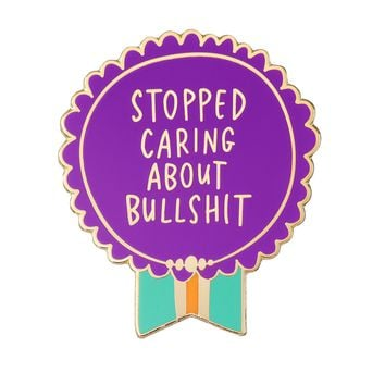 Stopped Caring About Bullshit Medal Enamel Pin in Purple