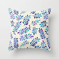 Hand Painted Purple & Aqua Leaf Pattern on Cream Throw Pillow by Micklyn