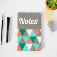 Custom hand painted Molskine notebook, triangle geometric design, summer colors pink white teal
