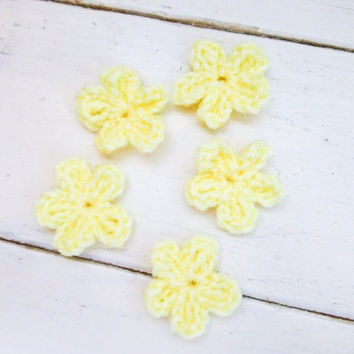 Crochet flowers, crochet appliques, yellow flowers, applique flowers, crochet embellishment, ready to ship, handmade, hand crochet, floral
