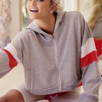 Wildfox Couture Balance Draped Hoodie in Vintage Lace Grey
