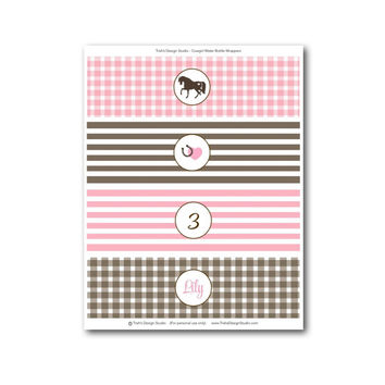 Cowgirl/Pony Birthday Party Printable Water Bottle Wrappers