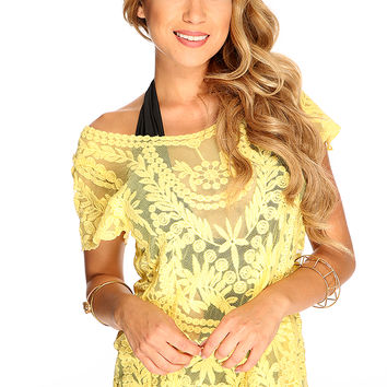 Yellow Mesh Embroider Short Sleeves Casual Beach Top