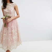 Chi Chi London Tall Premium Lace Midi Prom Dress with Bardot Neck at asos.com