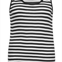 Black And White Striped Cotton Ribbed Vest plus size 16,18,20,22,24,26,28,30,32