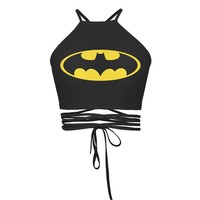 2017 Vintage 3D Print Batman Graphic Cropped Women Back Cross Brandage String Strappy Bustier Crop Top Brandy Melville Camis