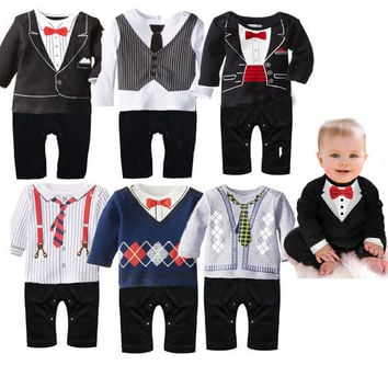 Gentlemens Suit and Tie Baby Romper