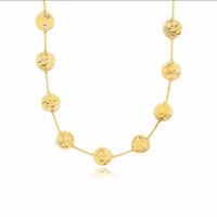 Textured Disc Long Layering Necklace in 14K Yellow Gold