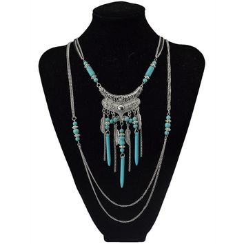Ethnic Boho Multilayer Detailed Beads and Tassels Necklace