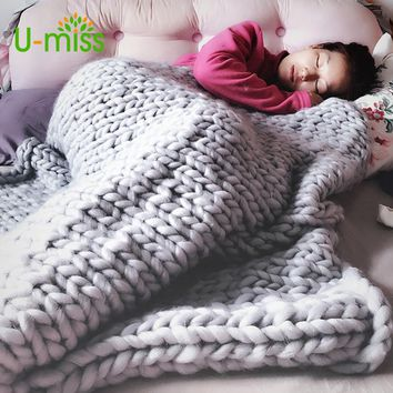 U-miss Fashion Hand Chunky Wool Knitted Blanket Thick Yarn Merino Wool Bulky Knitting Throw Blankets