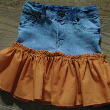 Girls Orange Skirt, Toddler Upcycled Vintage Denim, Ruffle Skirt 4T
