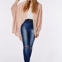 Missguided - Slouch Knitted Cocoon Cardigan Nude