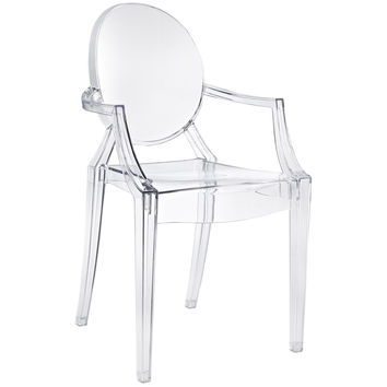 Philippe Starck Style Louis Ghost Arm Chair Clear