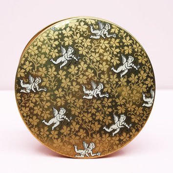 Powder Compact, Le Rage Compact, Loose Powder Case, Cherubs, Bridal, Vintage Compact, Old Fashioned, Romantic Gifts, Floral - 1940s / 1950s