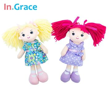 InGrace baby girls doll with flower dress blond hair mini dolls big eyes cute toy for girls soft 25CM decoration doll 4 colors