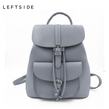 LEFTSIDE Women's Drawstring PU Leather Backpack School bags Teenage Girls Backpacks for Women High quality ladies Bagpack