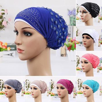 Double Color Turban Luxury Wrapped Head Scarf Hot Drill Crystal Flower Hat Hijab Muslim Tail Head Wraps Cap