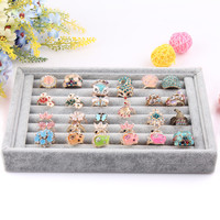 New Gray color Jewelry Rings Display Show Case Organizer Tray Box